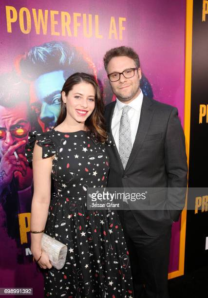 Actress Lauren Miller and ProducerSeth Rogen attend AMC's Preacher Season 2 Premiere at the Theater at the Ace Hotel on June 20 2017 in Los Angeles...