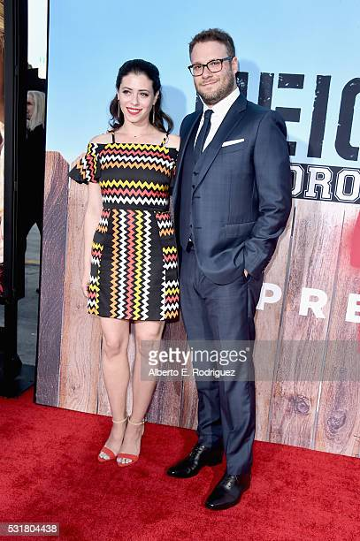 Actress Lauren Miller and writer/producer/actor Seth Rogen attend the premiere of Universal Pictures' Neighbors 2 Sorority Rising at the Regency...