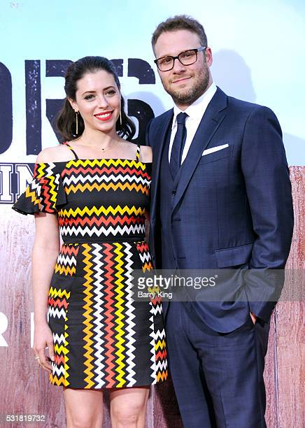 Actress Lauren Miller and writer/producer/actor Seth Rogen attend the American Premiere of Universal Pictures' 'Neighbors 2 Sorority Rising' at...
