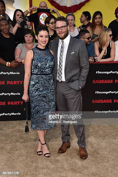 Actress Lauren Miller and writer/producer/actor Seth Rogen attend the premiere of Sony's Sausage Party at Regency Village Theatre on August 9 2016 in...