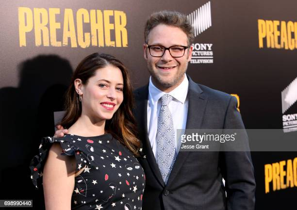 Actress Lauren Miller and Writer/producer/director Seth Rogen attend AMC's Preacher Season 2 Premiere at the Theater at the Ace Hotel on June 20 2017...