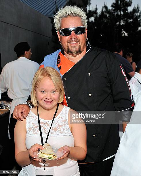 Actress Lauren Potter and Chef Guy Fieri attend the Guy Fieri Celebrity Chef Tailgate for the Best Buddies Challenge Hyannis Port on May 31 2013 in...