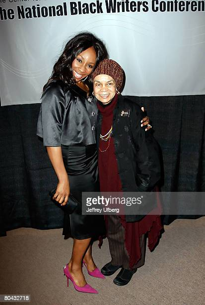 Actress Lauretta Vaughn and Sonia Sanchez the John Oliver Killens Lifetime Literary Award recipient pose together for a picture during the VIP...