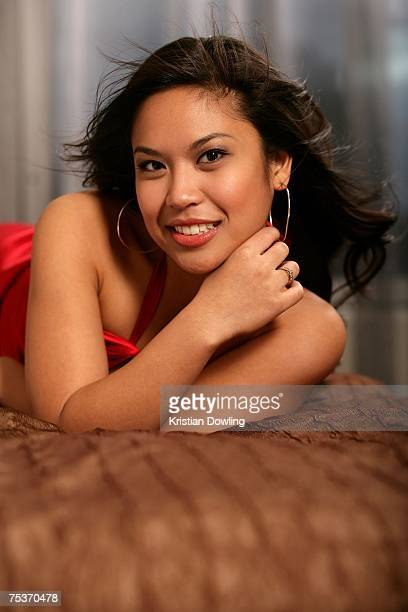 Actress Laurie Cadevida the lead actress in the imminent Melbourne production of Miss Saigon poses for a portrait session at Oaks on Market Hotel on...