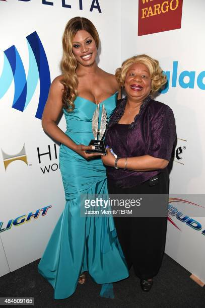 Actress Laverne Cox and mother attend the 25th Annual GLAAD Media Awards at The Beverly Hilton Hotel on April 12 2014 in Beverly Hills California