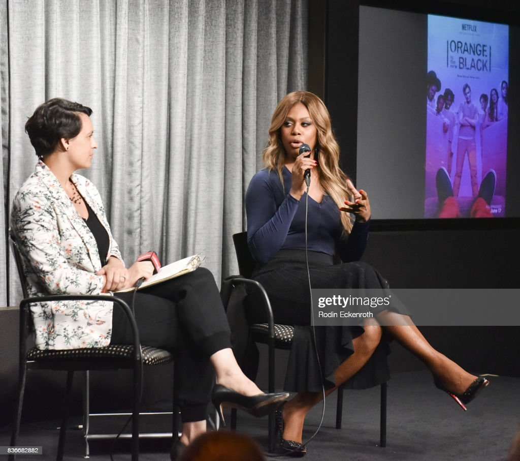 Actress Laverne Cox (R) and New York Magazine's Stacey Wilson Hunt speak onstage at SAG-AFTRA Foundation Conversations with 'Orange Is The New Black' at SAG-AFTRA Foundation Screening Room on August 21, 2017 in Los Angeles, California.