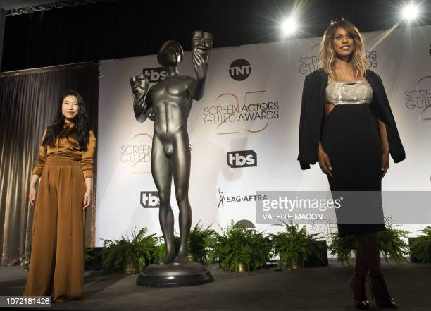 Actress Laverne Cox and rapper/actress Awkwafina attend the 25th Annual Screen Actors Guild Awards Nominations announcement at the Pacific Design...