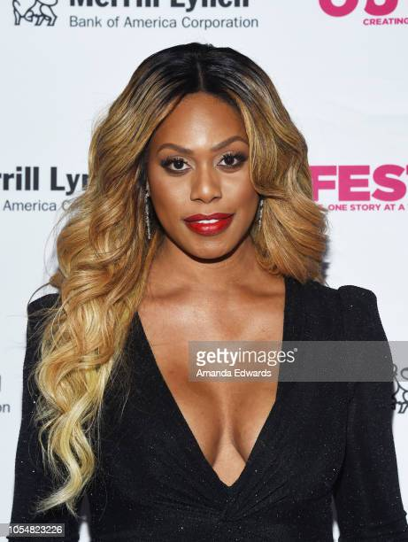 Actress Laverne Cox arrives at the 13th Annual Outfest Legacy Awards at Vibiana on October 28 2018 in Los Angeles California