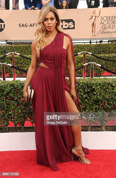 Actress Laverne Cox arrives at the 22nd Annual Screen Actors Guild Awards at The Shrine Auditorium on January 30 2016 in Los Angeles California