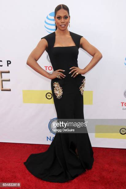 Actress Laverne Cox arrives at the 48th NAACP Image Awards at Pasadena Civic Auditorium on February 11 2017 in Pasadena California