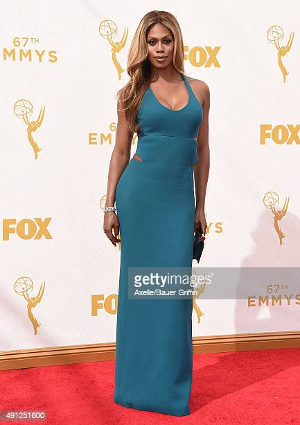 Actress Laverne Cox arrives at the 67th Annual Primetime Emmy Awards at Microsoft Theater on September 20 2015 in Los Angeles California