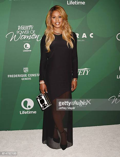Actress Laverne Cox arrives at the Variety's Power Of Women Luncheon 2016 at the Beverly Wilshire Four Seasons Hotel on October 14 2016 in Beverly...