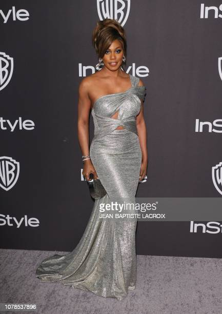 US actress Laverne Cox arrives for the Warner Bros and In Style 20th annual post Golden Globes party at the Oasis Courtyard of the Beverly Hilton...