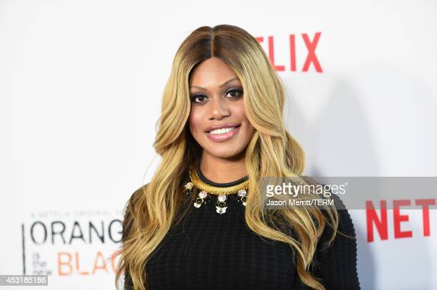 Actress Laverne Cox attends Netflix's 'Orange is the New Black' panel discussion at Directors Guild Of America on August 4 2014 in Los Angeles...