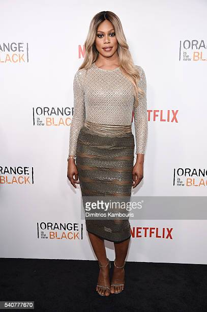 Actress Laverne Cox attends 'Orange Is The New Black' premiere at SVA Theater on June 16 2016 in New York City