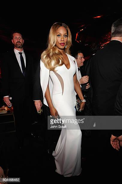 Actress Laverne Cox attends The 2016 InStyle and Warner Bros 73rd annual Golden Globe Awards PostParty at The Beverly Hilton Hotel on January 10 2016...