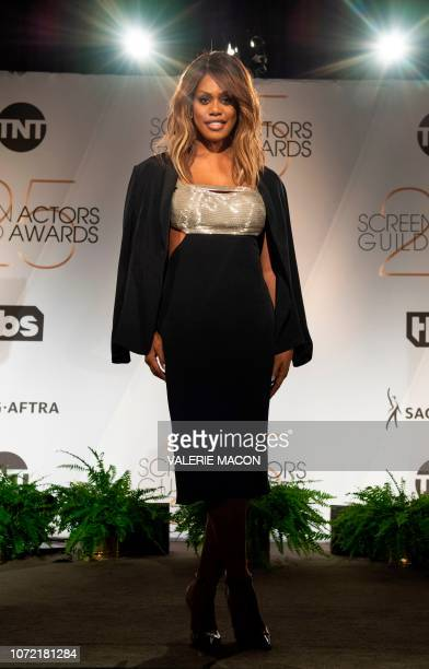 Actress Laverne Cox attends the 25th Annual Screen Actors Guild Awards Nominations announcement at the Pacific Design Center in West Hollywood...