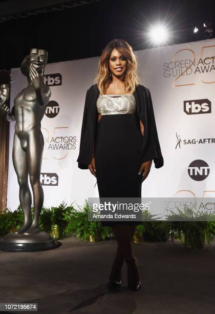 Actress Laverne Cox attends the 25th Annual Screen Actors Guild Awards nominations announcement at the Pacific Design Center on December 12 2018 in...