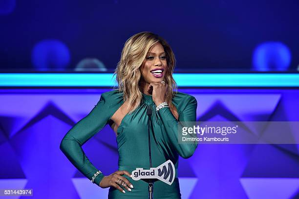 Actress Laverne Cox attends the 27th Annual GLAAD Media Awards in New York on May 14, 2016 in New York City.