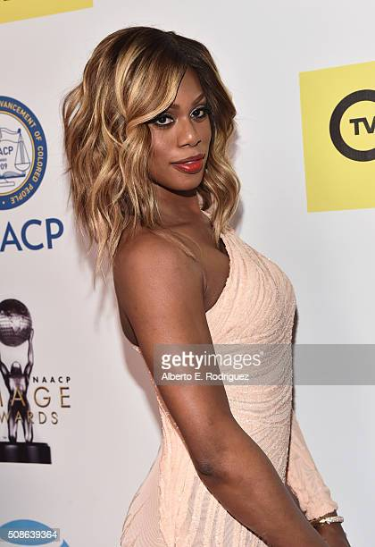 Actress Laverne Cox attends the 47th NAACP Image Awards presented by TV One at Pasadena Civic Auditorium on February 5 2016 in Pasadena California