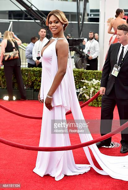 Actress Laverne Cox attends the 66th Annual Primetime Emmy Awards held at the Nokia Theatre LA Live on August 25 2014 in Los Angeles California