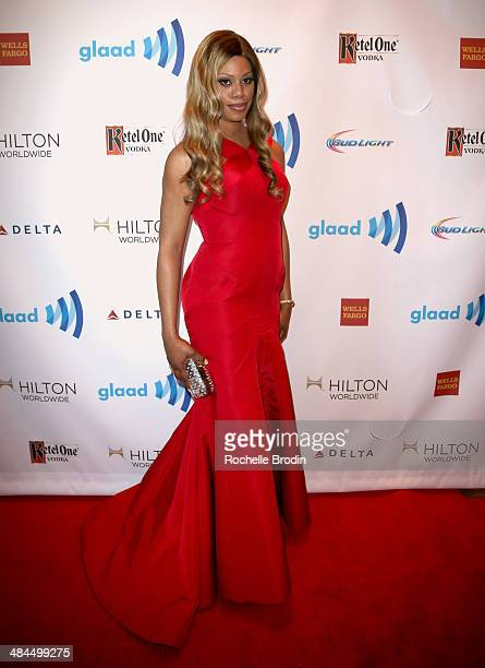 Actress Laverne Cox attends the VIP Red Carpet Suite hosted by Ketel One Vodka at the 25th Annual GLAAD Media Awards on April 12 2014 in Beverly...