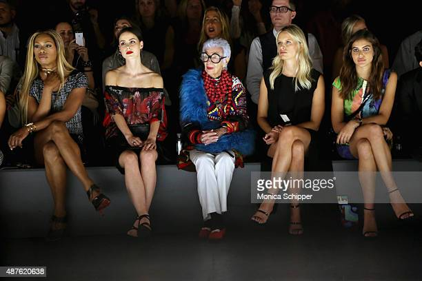 Actress Laverne Cox businesswoman Iris Apfel and model Karolina Kurkova attend the Desigual fashion show during Spring 2016 New York Fashion Week The...