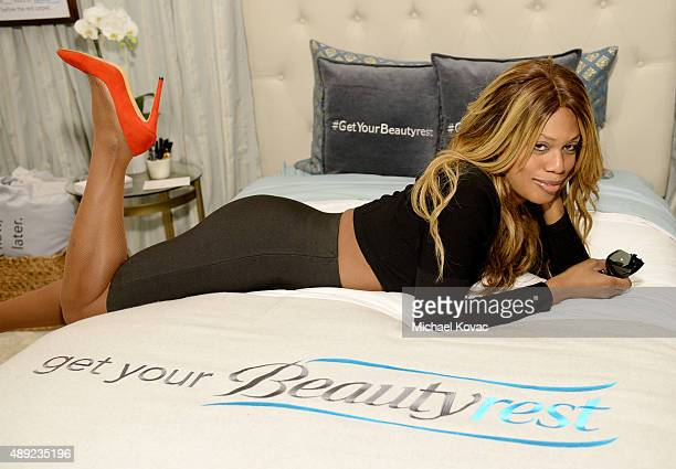 Actress Laverne Cox got her beauty rest with Beautyrest Mattresses at EXTRA's WEEKEND OF   LOUNGE produced by On 3 Productions at The London West...