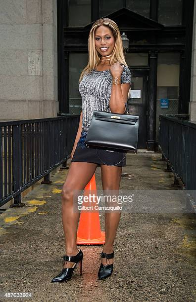 Actress Laverne Cox is seen arriving at Desigual fashion show during Spring 2016 New York Fashion Week on September 10 2015 in New York City