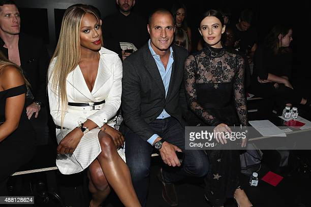 Actress Laverne Cox Photographer Nigel Barker and Cristen Barker attend Georgine Spring 2016 during New York Fashion Week The Shows at The Dock...
