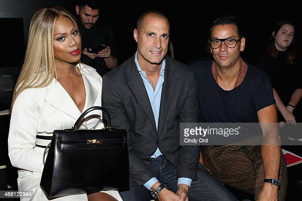 Actress Laverne Cox photographer Nigel Barker and National Fashion Director at Modern Luxury James Aguiar attend Georgine Spring 2016 during New York...