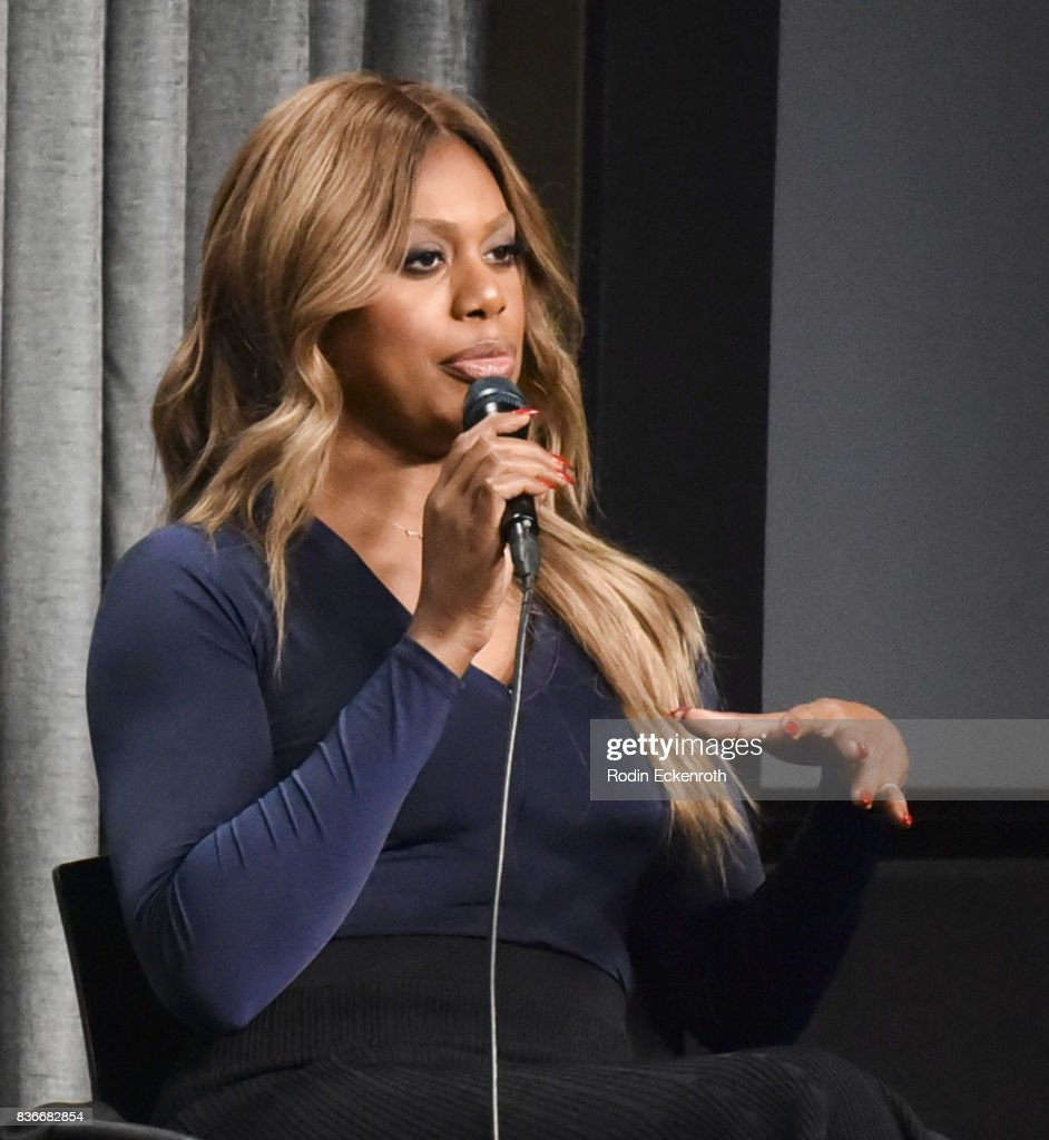 Actress Laverne Cox speaks onstage at SAG-AFTRA Foundation Conversations with 'Orange Is The New Black' at SAG-AFTRA Foundation Screening Room on August 21, 2017 in Los Angeles, California.