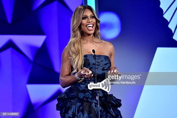Actress Laverne Cox speaks onstage at the 27th Annual GLAAD Media Awards in New York on May 14 2016 in New York City