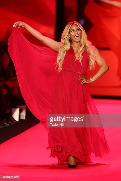 Actress Laverne Cox walks the runway during the Go Red For Women fall 2015 fashion show on February 12 2015 in New York City