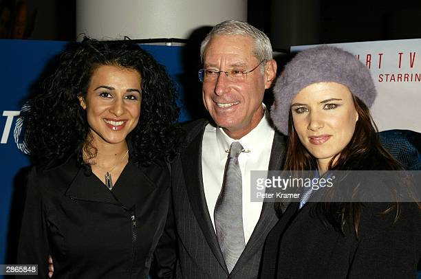 Actress Layla Alizada Court TV CEO Henry Schleiff and actress Juliette Lewis attend the Court TV premiere of Chasing Freedom January 13 2004 in New...