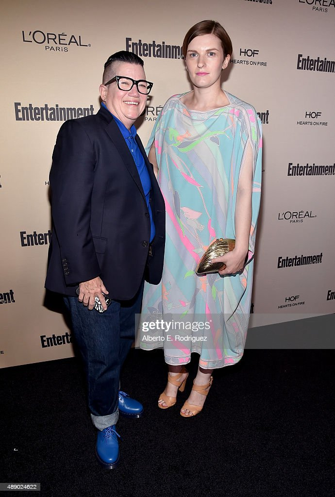 Actress Lea DeLaria (L) and Chelsea Fairless attend the 2015 Entertainment Weekly Pre-Emmy Party at Fig & Olive Melrose Place on September 18, 2015 in West Hollywood, California.