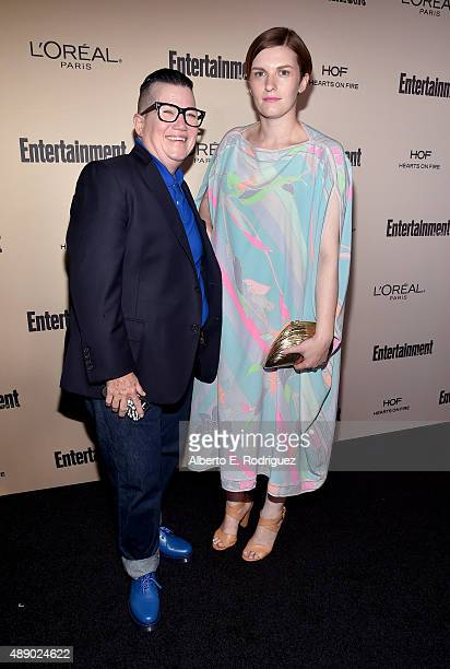 Actress Lea DeLaria and Chelsea Fairless attend the 2015 Entertainment Weekly Pre-Emmy Party at Fig & Olive Melrose Place on September 18, 2015 in...