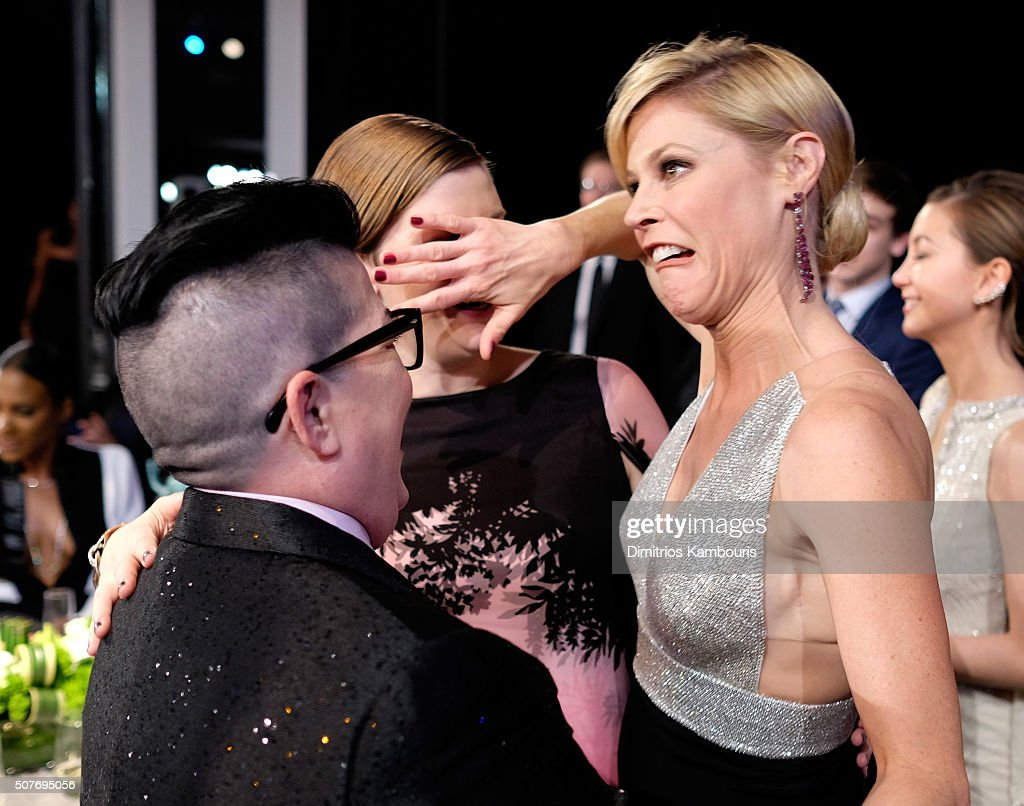 Actress Lea DeLaria, guest, and actress Julie Bowen during The 22nd Annual Screen Actors Guild Awards at The Shrine Auditorium on January 30, 2016 in Los Angeles, California. 25650_013