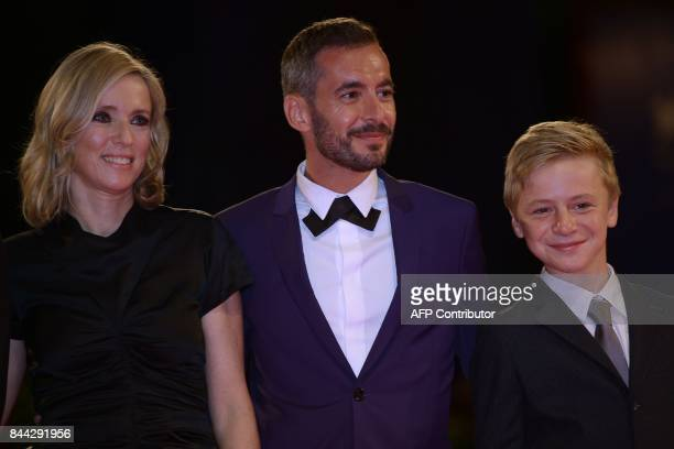 Actress Lea Drucker director Xavier Legrand and actor Thomas Gioria attend the premiere of the movie 'Jusqu'à la Garde' presented in competition at...