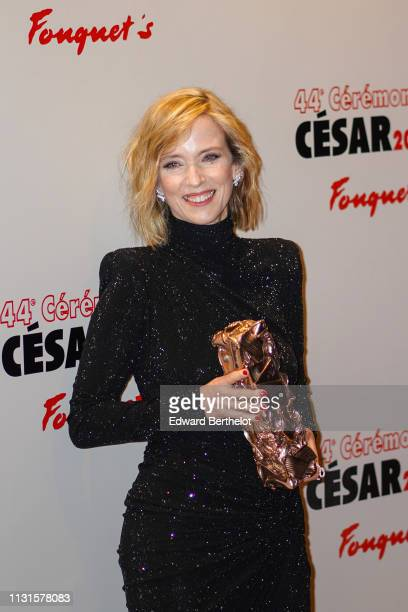 Actress Lea Drucker winner of the award for Best Actress for 'Jusqu'a la garde' is seen outside the dinner at the Fouquet's after the Cesar Ceremony...