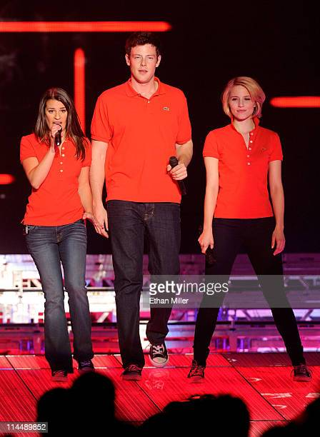 Actress Lea Michele actor Cory Monteith and actress Dianna Agron perform during the kickoff of the Glee Live In Concert tour at the Mandalay Bay...