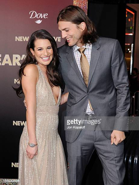 """Actress Lea Michele and actor Ashton Kutcher arrive at the Los Angeles Premiere """"New Year's Eve"""" at Grauman's Chinese Theatre on December 5, 2011 in..."""