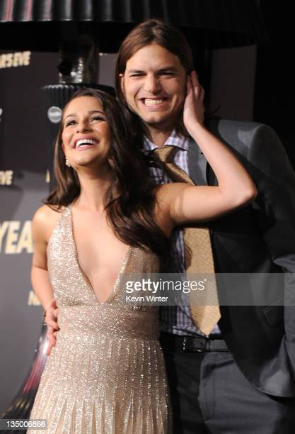 Actress Lea Michele and actor Ashton Kutcher arrive at the premiere of Warner Bros Pictures' 'New Year's Eve' at Grauman's Chinese Theatre on...
