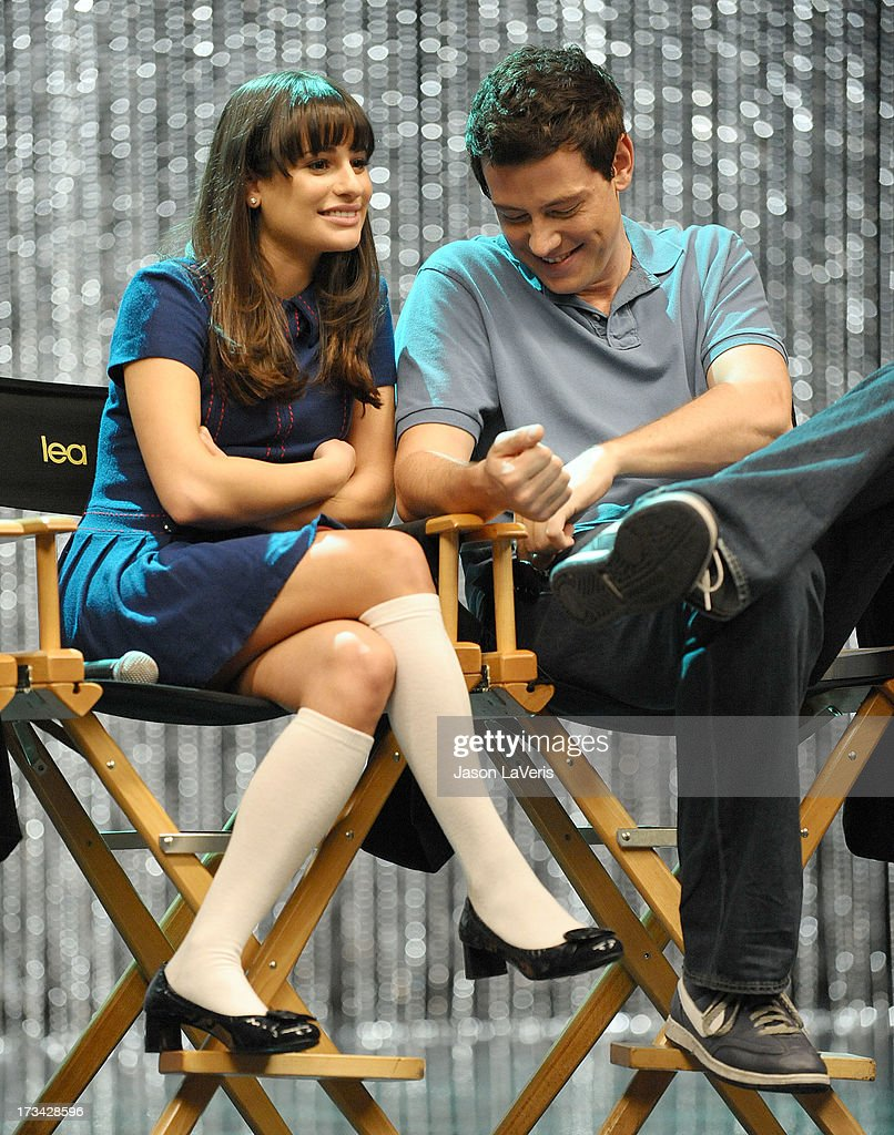 Actress Lea Michele and actor Cory Monteith attend the 'GLEE' 300th musical performance special taping at Paramount Studios on October 26, 2011 in Hollywood, California.