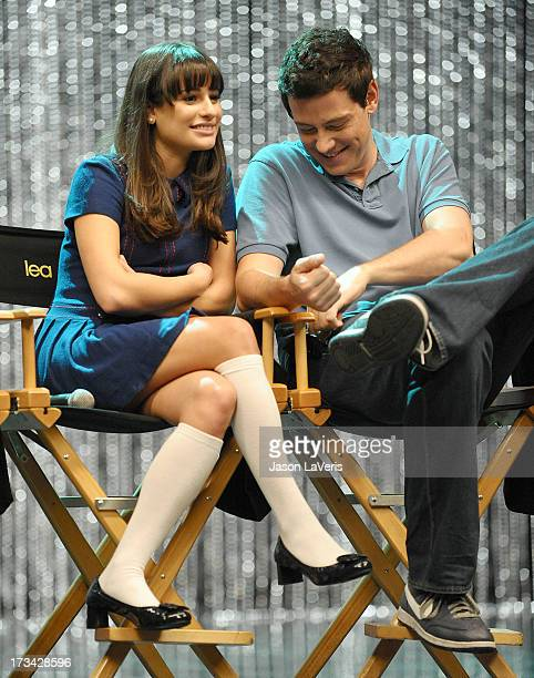 Actress Lea Michele and actor Cory Monteith attend the 'GLEE' 300th musical performance special taping at Paramount Studios on October 26 2011 in...
