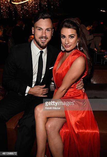 Actress Lea Michele and Matthew Paetz attend the 2015 InStyle And Warner Bros 72nd Annual Golden Globe Awards PostParty at The Beverly Hilton Hotel...