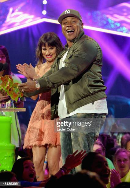 Actress Lea Michele and rapper/actor LL Cool J speak onstage during Nickelodeon's 27th Annual Kids' Choice Awards held at USC Galen Center on March...
