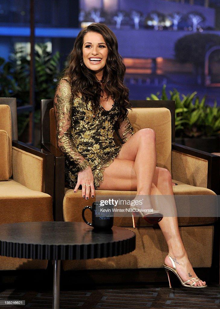 "Lea Michele, Adam Carolla And Neil Diamond On ""The Tonight Show With Jay Leno"" : News Photo"