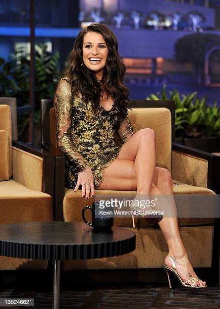 Actress Lea Michele appears on the Tonight Show With Jay Leno at NBC Studios on December 7 2011 in Burbank California