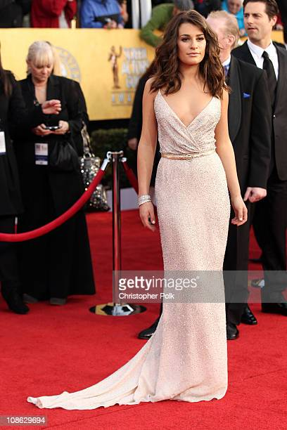 Actress Lea Michele arrives arrives at the TNT/TBS broadcast of the 17th Annual Screen Actors Guild Awards held at The Shrine Auditorium on January...